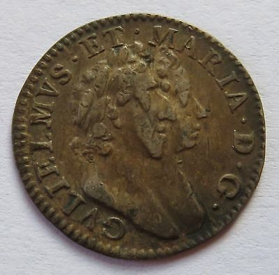 Britain 1689 William and Mary 3 Pence, Conjoined Bust, Colonial British (151552N