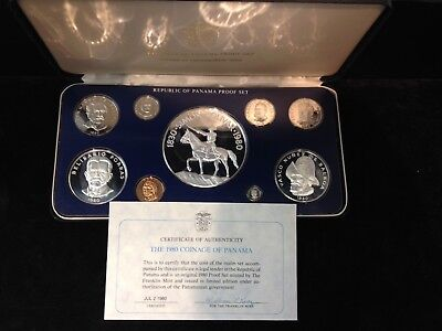 1980 Panama Coinage Proof Set 3 Silver Coins in Presentation Case With the COA