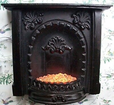 dollshouse black fireplace 12v light up grate miniature mantle 1/12 scale
