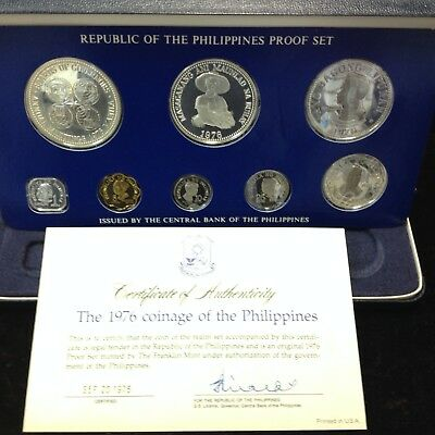 1976 Philippines - 8 Coin Proof Set ( 2 Silver ) ASW Total 1.21 oz