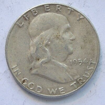 USA 1954 S Franklin Silver Half Dollar.aEF(LotE11181118)Free Registered Post
