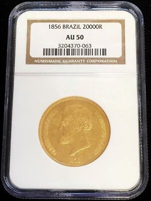 1856 Gold Brazil 20000 Reis Pedro Ii Coin Ngc About Uncirculated 50