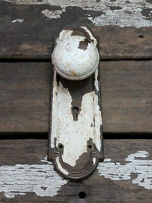 VTG Antique Old SHABBY Rustic Door Knob & Chippy Painted Metal Keyhole Backplate