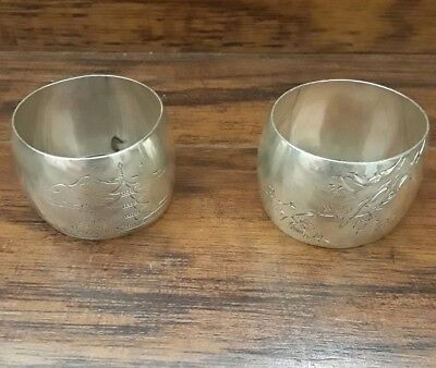 Japanese Tablecloth Holder × 2 , Silver