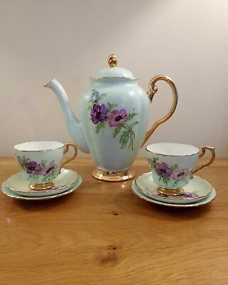 Vintage Plant Tuscan China Teaset /coffee for two signed R.EN ,hand painted