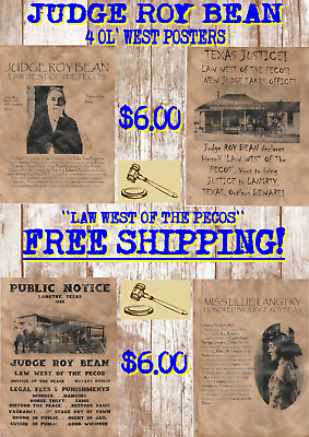Old West Wanted Posters Law Judge Pecos Bean Langtry Texas Saloon Murder Court