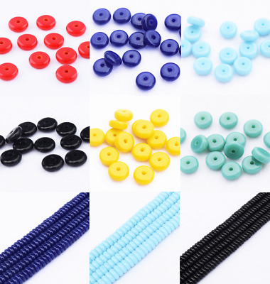 Lots color 50pcs Glass Flat Round Disc Spacer Loose Beads Jewelry Findings DIY