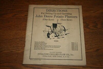 1938 John Deere Potato Planter Owners Manual & PartSyracuse Chilled Plow Company