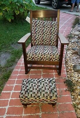 Antique Solid Wood Rocking Chair & Ottoman