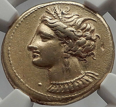CARTHAGE 310BC Horse Authentic Ancient Greek Electrum Stater Certified NGC Ch XF