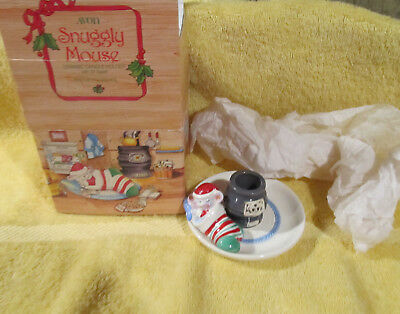 Avon Snuggly Mouse Ceramic Candle Holder 6 inch Taper  MIB
