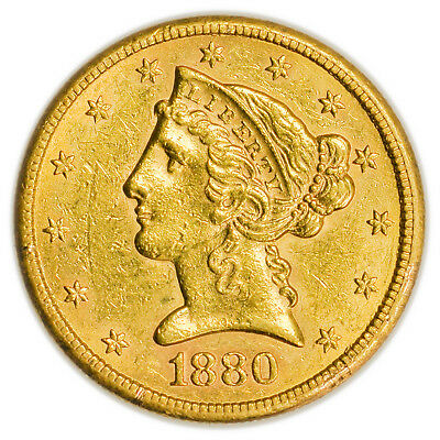 1880-S $5 Gold Liberty Head Half Eagle, Circulated Coin [3965.01]