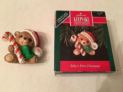 Hallmark Keepsake Baby's First Christmas Ornament 1992 Teddy Bear Candy Cane