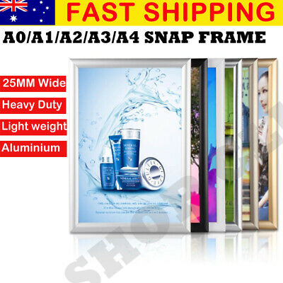 A0 A1 A2 A3 A4 PREMIUM Aluminum Snap poster frame Sign holder wall Silver