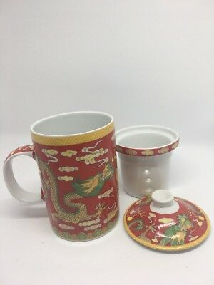 Chinese Porcelain Tea Cup Handled Infuser Strainer Lid 10 oz Dragon Red Yellow