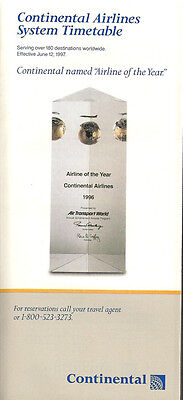 Continental Airlines system timetable 6/12/97 [308CO] Buy 2 Get 1 Free