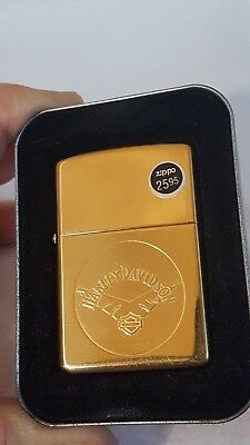 "Brass New Zippo ""Harley Davidson"" HD V Wing Shield Brass Lighter"