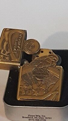 "Brass Used Zippo ""Harley Davidson"" HD Tank Motor Flag Shield Brass Lighter"