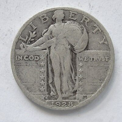 USA 1928 S Standing Liberty Silver Quarter Dollar.VG(LotE11181118)Free Post