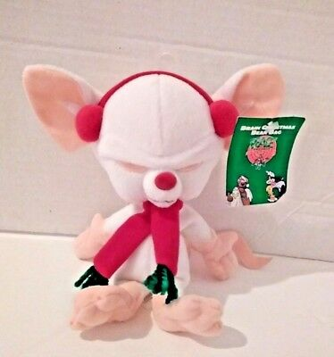 "Animaniacs Brain Christmas Beanbag Plush 9"" Warner Bros Studio 1998"