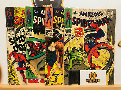 Amazing Spider-Man Silver Age Lot 53 54 55 56 VG+ to Fine Dr Octopus By Stan Lee