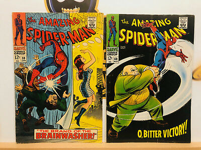 Amazing Spider-Man Silver Age 1960s Lot #59 & 60 VG+ to Fine- By Stan Lee