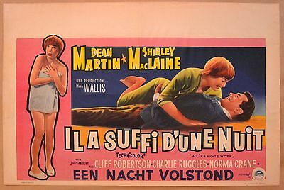 ALL IN A NIGHT'S WORK, 1961 Belgian poster, Dean Martin, Shirley MacLaine