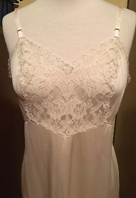 Vintage Vanity Fair Ivory Color Lacey Full Slip Size 38