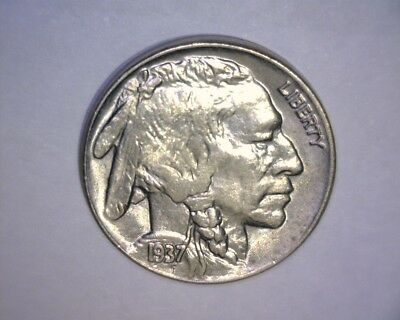 "1937 Buffalo Nickel  ""A/U ++ TO UNC""  ""FULL HORN""  NICE ! US  COIN"