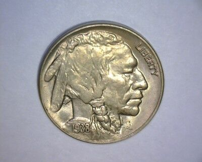 "1938 D Buffalo Nickel  ""A/U ++ TO UNC""  ""FULL HORN""  NICE ! US  COIN"