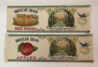 Vintage Tin Can Labels Mountain Valley Sweet Potato & Apple McMinnville TN