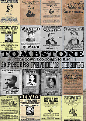 12 Old West Wanted Poster Doc Wyatt Ok Corral Tombstone Outlaw Ringo Bank Outlaw