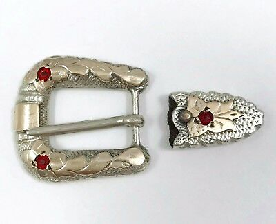 Sterling Silver Western Style Belt Buckle With Red Stones About 16 Grams