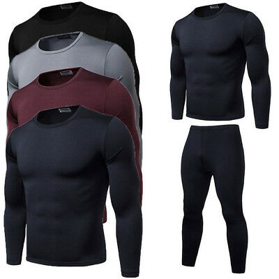 US 2PCS/Sets Mens Winter WARM Thermal Underwear Tops Long Johns Leggings Pants