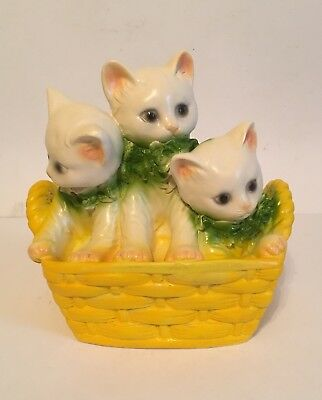 Early Carnival Prize Chalk Basket of Kitty Cats Piggy Penny Bank Chalkware