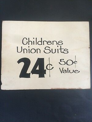 Rare antique Kids UNION SUITS ADVERTISING SIGN CARD Board 1920s