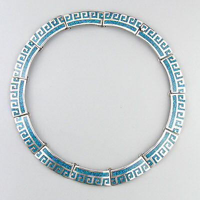 Vintage Mexican Bright Turquoise Taxco Sterling Silver Geo Modernist Necklace