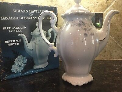 Johann Haviland Bavaria Germany Blue Garland Coffee Pot Beverage Server Vintage