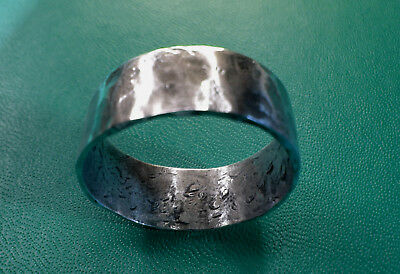 SILVER SIZE 16 NEO VIKING RING HAMMERED 925  Size 16 CUSTOM SILVER WEDDING BAND