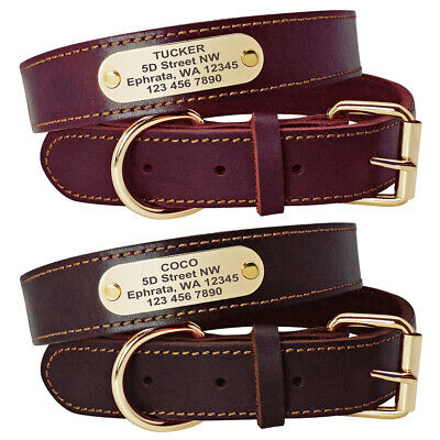 Leather Dog Personalized Collar Laser Engraved ID TAG  for Medium Large Dogs