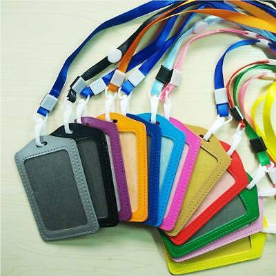 2pc Lanyard Plastic Business ID Badge Card Vertical Holders with Neck Strap