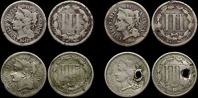 Nickel Three Cent Piece 3c, 1865, 1867, 1873, Lot of 4