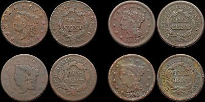 Coronet Head and Braided Hair Large Cent, 1817, 1830, 1845, 1847, Lot of 4