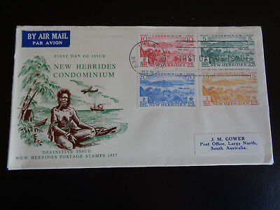 FIRST DAY COVER NEW HEBRIDES SCENES DEFINITIVE ISSUE 1957 #nafdc49