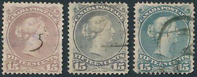 Canada #29-30 Lot of 3 15c Large Queens, Shades, Fine+ Appearance