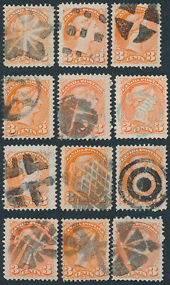 Lot of 12 3c Small Queens With Variety of Cancels, Fancies, Targets, Etc Fine+