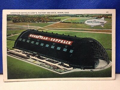 Vintage unused postcard Goodyear Zeppelin Corp's factory and dock Akron Ohio