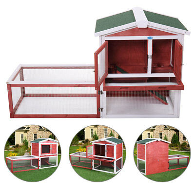 "61"" Outdoor Rabbit Hutch Cage Large House Wood Wooden Habitat Animal Pet Small"