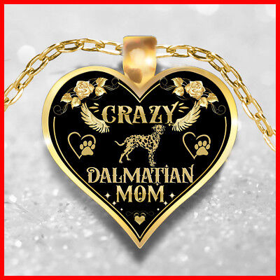 Crazy Dalmatian Mom Necklace, Dalmatian Jewelry, Dalmatian Dog Pendant