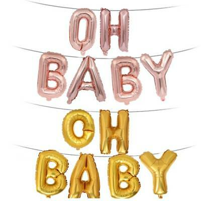 """""""OH BABY"""" Letter Foil Balloons Birthday Party Hanging Event Supplies Balloons"""